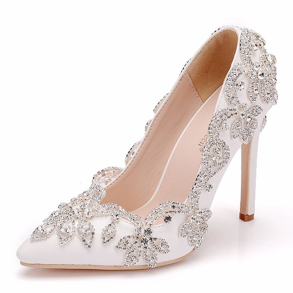 Women's Leatherette Spool Heel Pumps With Crystal