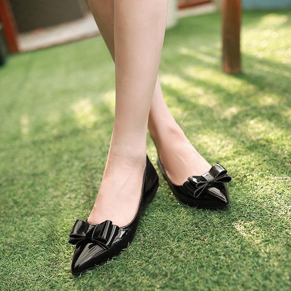 Femmes Cuir verni Talon plat Chaussures plates Bout fermé avec Bowknot chaussures