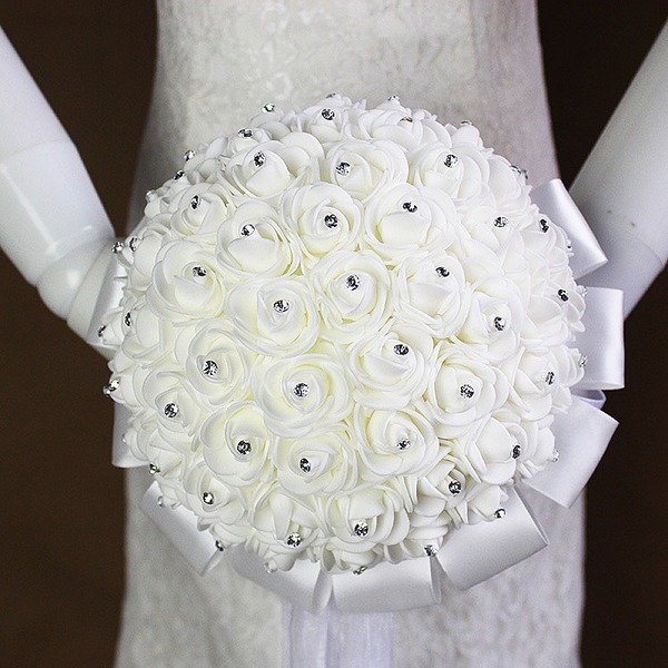 Classic Round Satin/Foam/Rhinestone Bridal Bouquets (Sold in a single piece) -