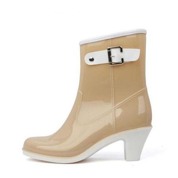 Frauen PVC Stämmiger Absatz Geschlossene Zehe Stiefel Stiefelette Regenstiefel mit Schnalle Schuhe