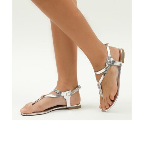 Femmes PU Talon plat Sandales Chaussures plates À bout ouvert Escarpins avec Boucle chaussures