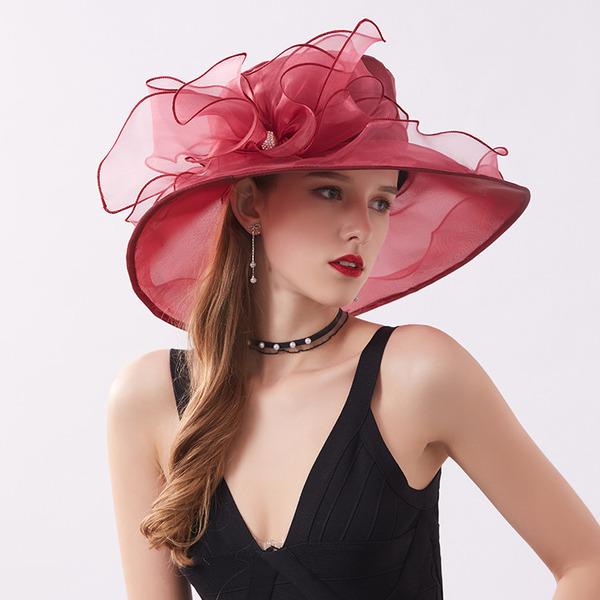 Bayanlar Şık/Güzel Organza Ile Çiçek Plaj / Güneş Şapkaları/Kentucky Derby Şapkaları/Çay Partisi Şapkaları