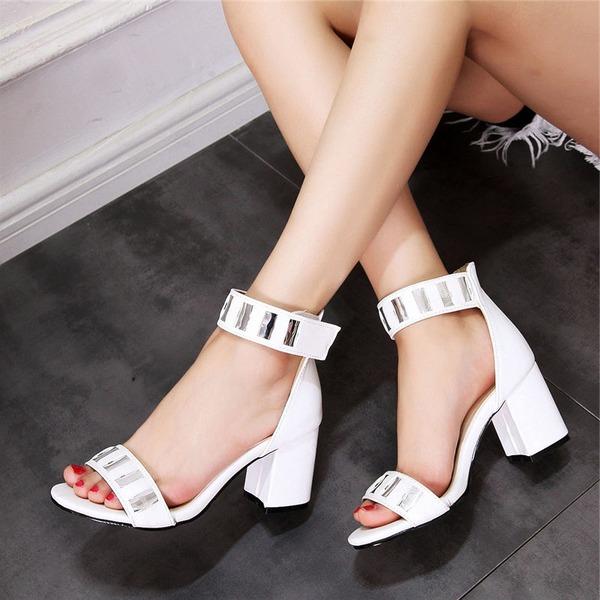 Mulheres Couro Salto robusto Sandálias Peep toe com Strass sapatos