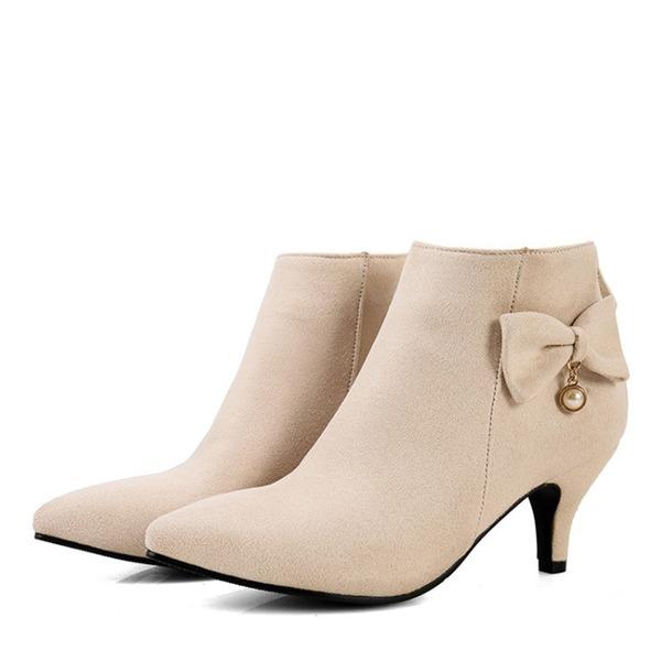 Vrouwen Suede Low Heel Laarzen Closed Toe met strik