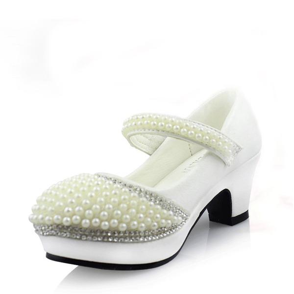 Muchacha Punta Cerrada Cuero de Microfibra Tacón alto Salón Zapatos de niña de las flores con Perlas de imitación Rhinestone Velcro