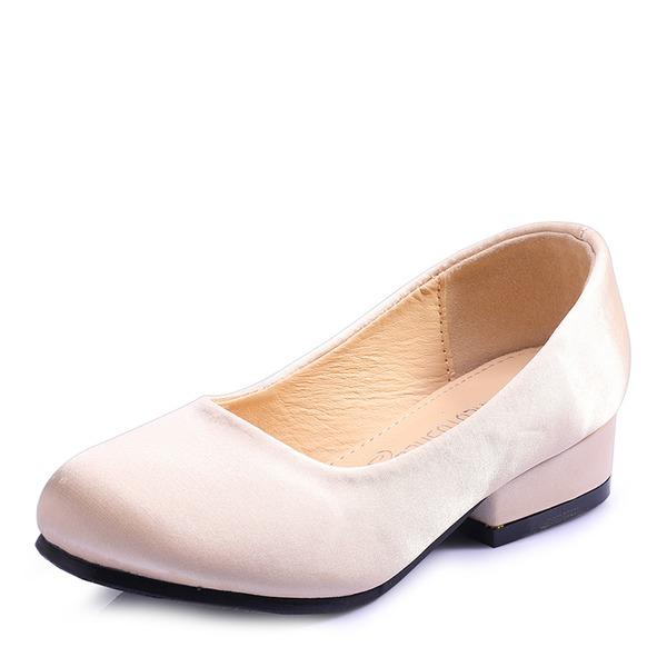 Fille de bout rond Bout fermé Soie satin Chaussures plates Sneakers & Athletic Chaussures de fille de fleur