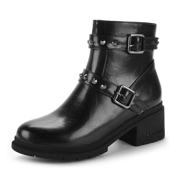 Women's PU Chunky Heel Boots Ankle Boots With Rivet Stitching Lace Zipper shoes