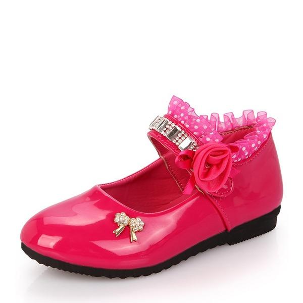 Fille de Bout fermé similicuir talon plat Chaussures plates avec Bowknot Strass Fleur en satin Plissé
