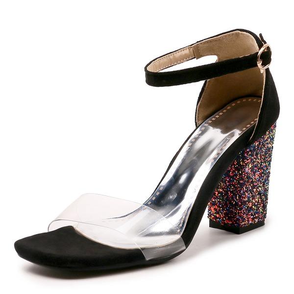 Женщины Замша Устойчивый каблук Сандалии На каблуках Открытый мыс с блестками пряжка обувь