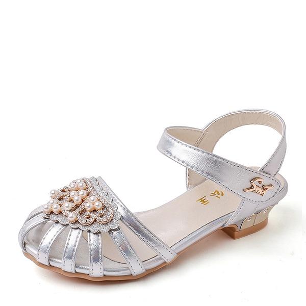 Muchacha Encaje Cuero de Microfibra El talón bajo Sandalias Zapatos de niña de las flores con Cuentas Rhinestone Brillo Chispeante Velcro Agujereado