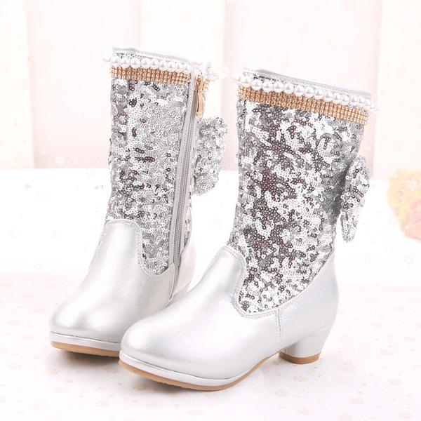 Girl's Half-Kuit Laarzen imitatieleer Flat Heel Laarzen Bloemenmeisje schoenen met Kralen strik Lovertje Rits