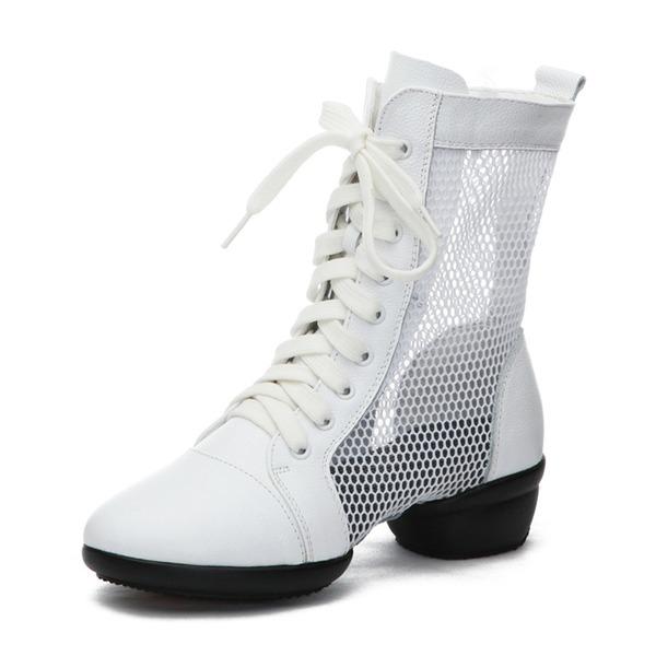 Donna Vera pelle Mesh Sneakers stile moderno Scarpe da Ginnastica Sala da ballo Scarpe da ballo