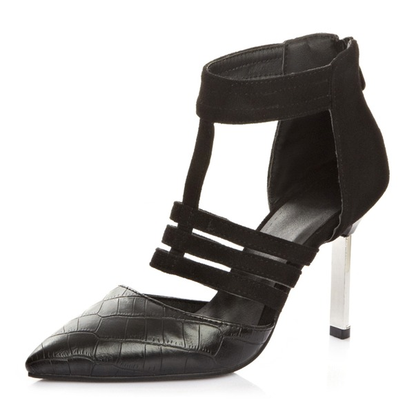 Women's Leatherette Stiletto Heel Sandals Pumps Closed Toe With Hollow-out shoes
