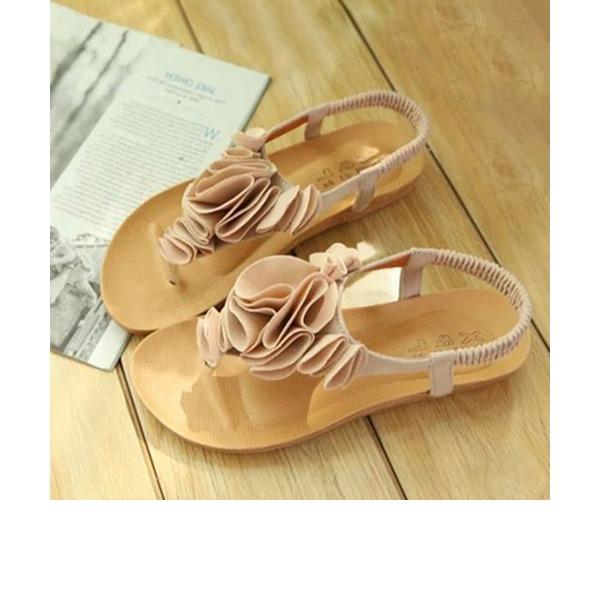Women's Suede Flat Heel Sandals Peep Toe Slingbacks With Flower Elastic Band shoes