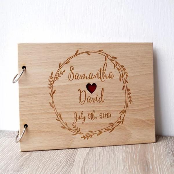 Přizpůsobené Dřevo Kniha hostů