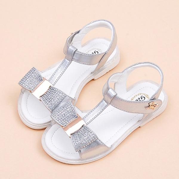 Jentas Titte Tå Leather flat Heel Flate sko Flower Girl Shoes med Bowknot Velcro Crystal