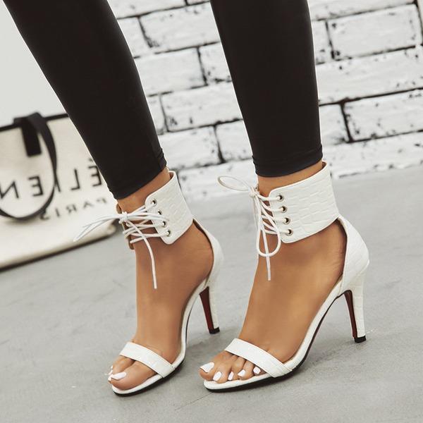 Kvinnor Konstläder Stilettklack Sandaler Pumps Peep Toe Mary Jane med Bandage skor