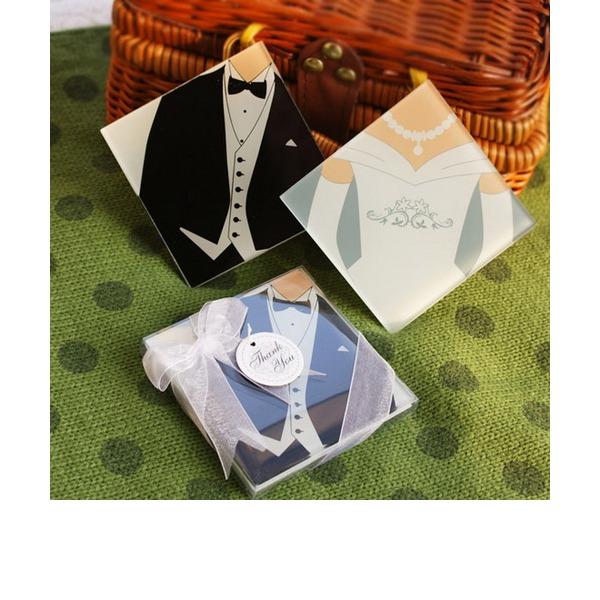 Tuxedo & Gown Sklo Tácek S Saténové stuhy (Sada 2 kusů)