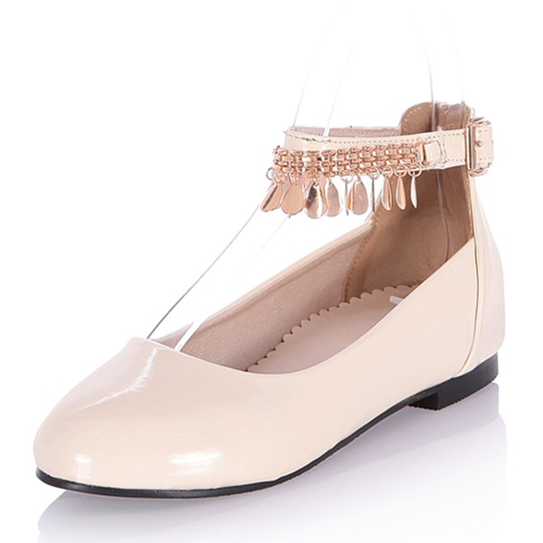 Vrouwen Patent Leather Low Heel Flats Closed Toe Mary Jane met Tassel schoenen