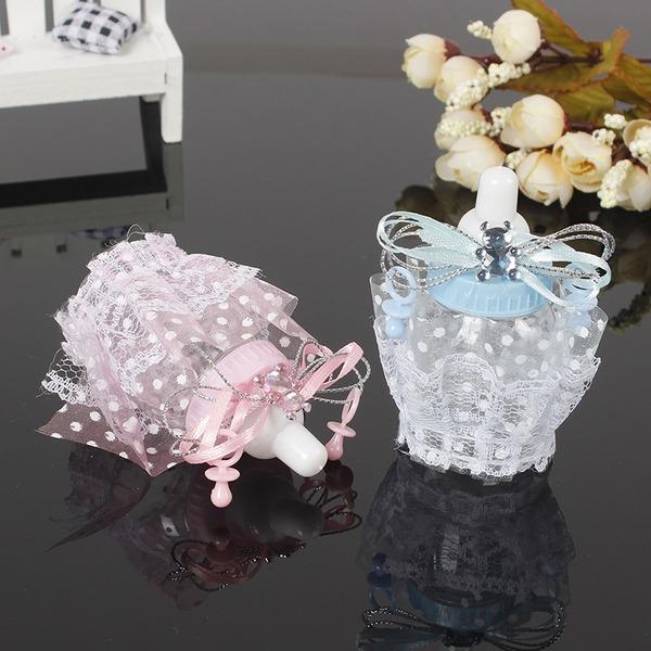 Amour doux/Créatif En forme de bouteille Plastique Boites de faveur et conteneurs/Vases de bonbon et bouteilles avec Dentelles (Lot de 12)
