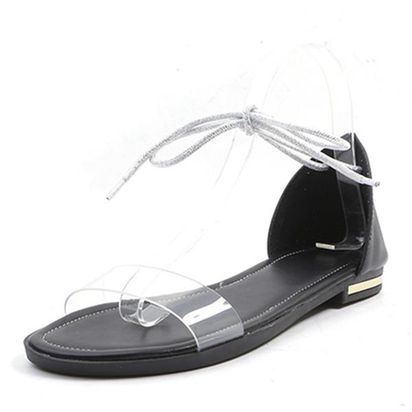 Mulheres PU Sem salto Sandálias Sem salto Peep toe com Aplicação de renda sapatos