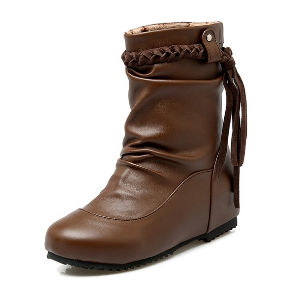 Naisten Keinonahasta Matala heel Suljettu toe Kengät Mid-calf saappaat jossa Tupsu Punottu hihna kengät