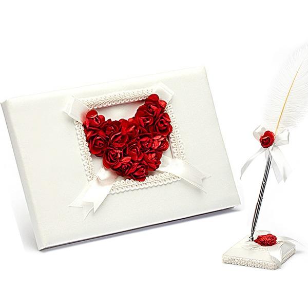 Rose Láska Lístků Návštěvní kniha & Pen Set