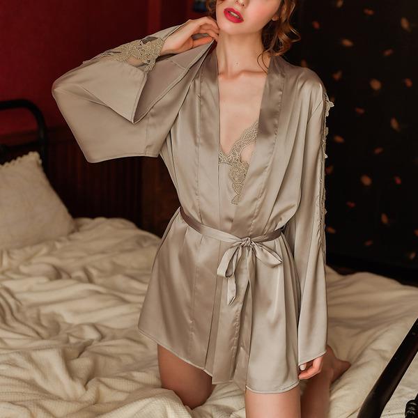 Poliéster Clássico Nupcial/Feminino roupa de dormir/pijamas set