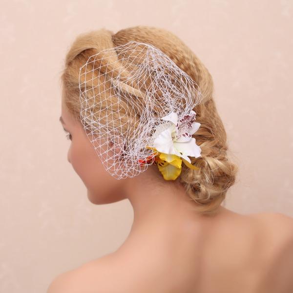 Elegante Seta artificiale Pettine & clip di capelli/Fiori & piume