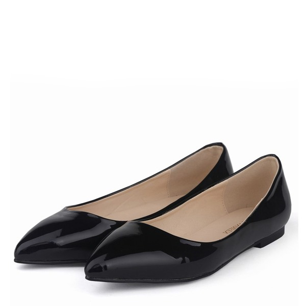 Женщины Лакированная кожа Плоский каблук На плокой подошве Закрытый мыс с Другие обувь