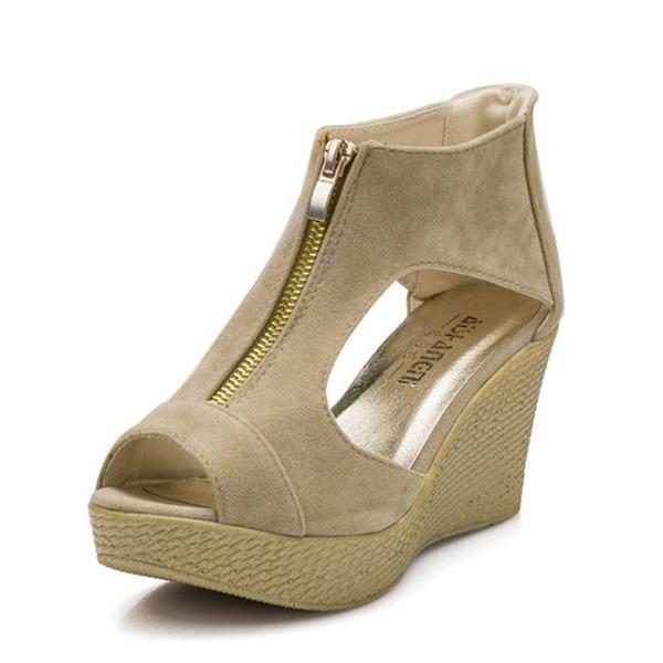 Mulheres Camurça Plataforma Sandálias Bombas Plataforma Calços Peep toe com Zíper sapatos