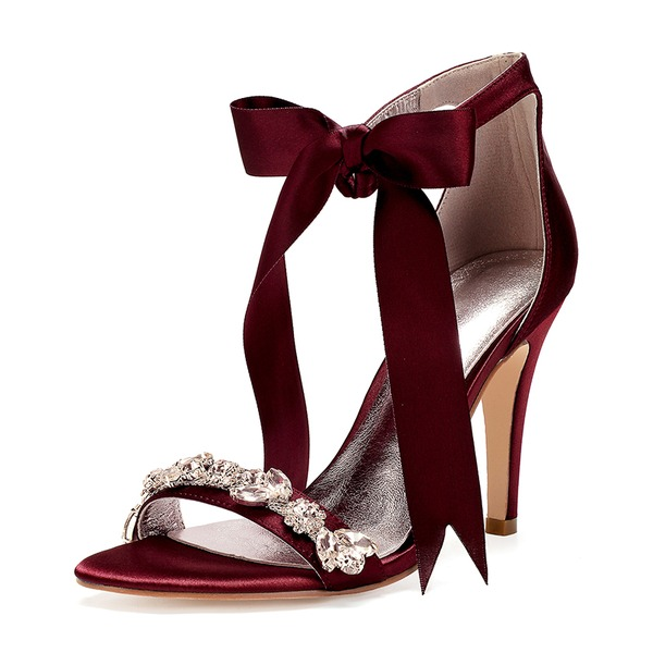 Kvinnor siden som satin Stilettklack Öppen tå Pumps Sandaler med Bowknot Strass Ribbon Tie Bandage
