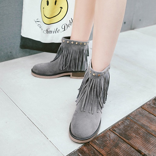Women's Suede Chunky Heel Pumps Boots Ankle Boots With Rivet Zipper Tassel shoes