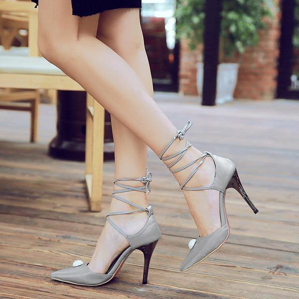 Kadın İpeksi Saten İnce Topuk Sandalet Pompalar Kapalı Toe Ile Bağcıklı ayakkabı