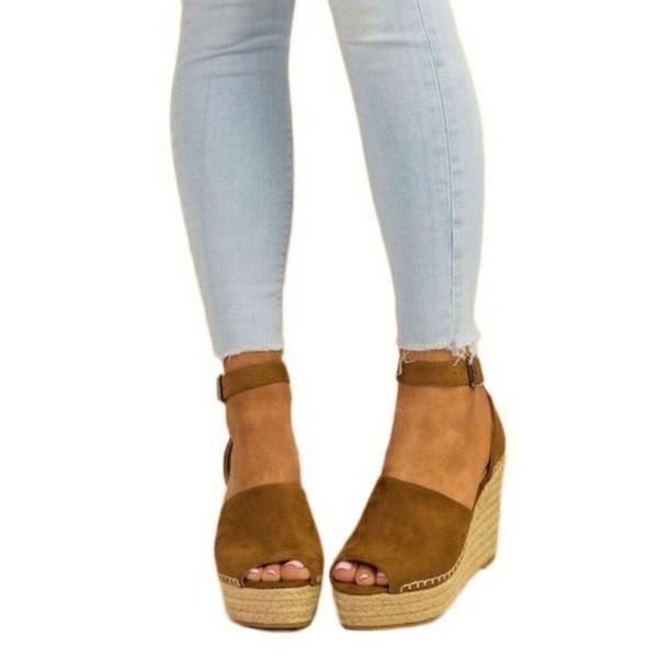 Kvinder Ruskind Kile Hæl sandaler Pumps Kiler med Spænde sko