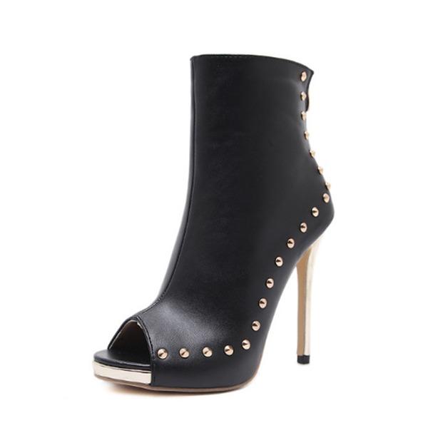 Kvinnor PU Stilettklack Pumps Stövlar Peep Toe Halva Vaden Stövlar med Nita Zipper skor