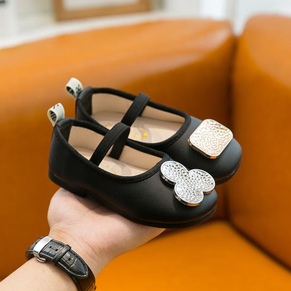 Jentas Round Toe Lukket Tå Leather flat Heel Flate sko Flower Girl Shoes med Elastisk bånd