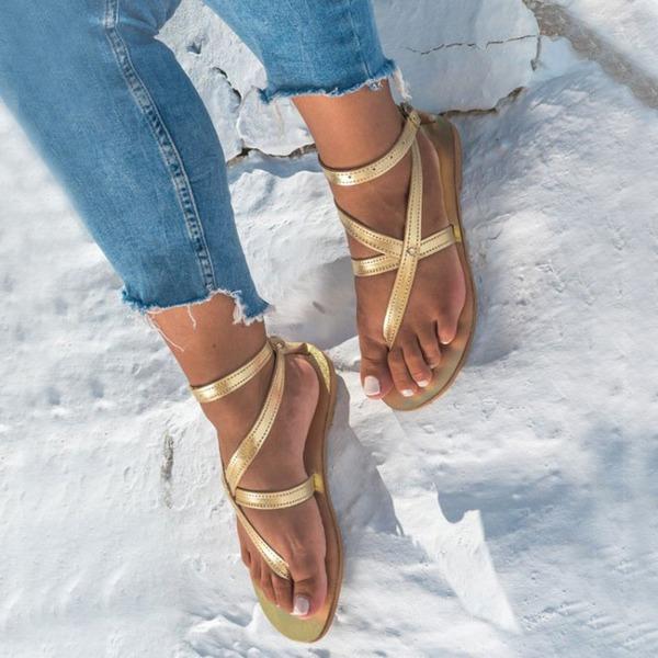 Donna Similpelle Senza tacco Sandalo Ballerine Punta aperta Con cinturino con Fibbia scarpe