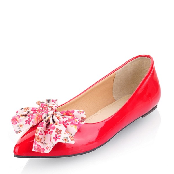 Women's Patent Leather Flat Heel Flats Closed Toe With Satin Flower shoes