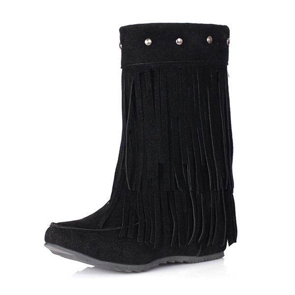 Frauen Veloursleder Keil Absatz Geschlossene Zehe Stiefel Stiefelette mit Niete Quaste Schuhe