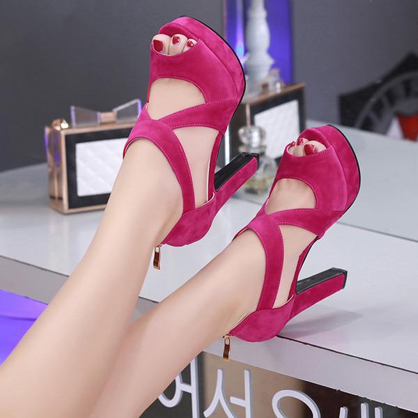 Femmes Suède Talon bottier Sandales Escarpins Plateforme À bout ouvert avec Zip Ouvertes chaussures