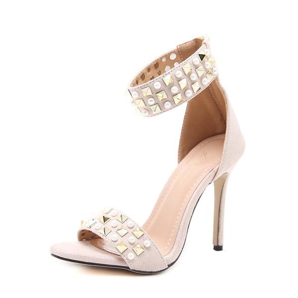 Frauen Veloursleder Stöckel Absatz Sandalen Absatzschuhe Peep Toe mit Nachahmungen von Perlen Niete Reißverschluss Schuhe