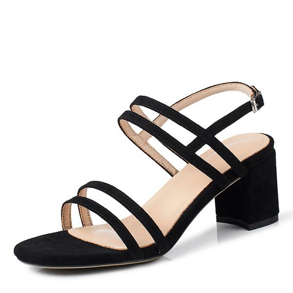 Mulheres Camurça Salto robusto Sandálias Bombas com Fivela sapatos