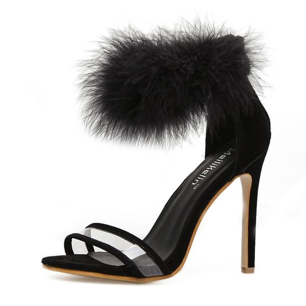 Kvinnor PU Stilettklack Sandaler Pumps Peep Toe med Päls skor