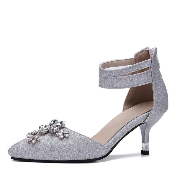 Frauen Satin Kunstleder Stöckel Absatz Absatzschuhe Geschlossene Zehe mit Strass Schuhe