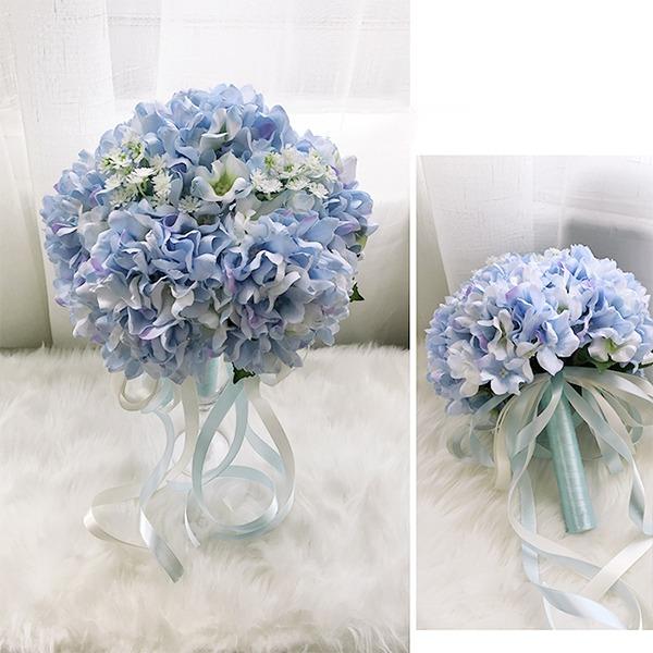 Avenante Rond Tissu Bouquets de demoiselle d'honneur -