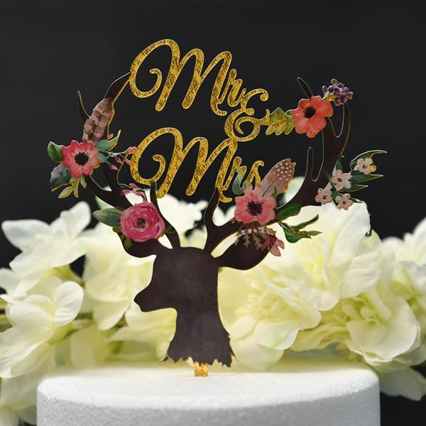 Mr & Mrs/Une fleur Acrylique Décoration pour gâteaux (Vendu dans une seule pièce)