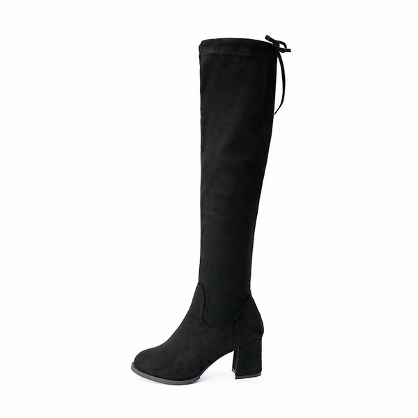 Women's Suede Chunky Heel Pumps Closed Toe Boots Knee High Boots Over The Knee Boots With Bowknot shoes