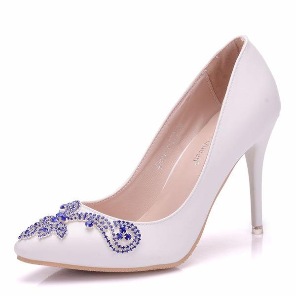 Femmes Similicuir Talon bobine Bout fermé Chaussures plates avec Cristal