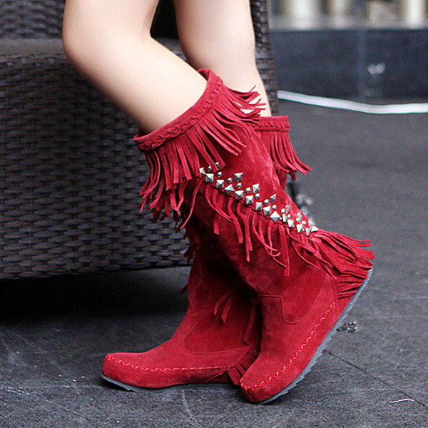 Women's Suede Flat Heel Boots Knee High Boots With Tassel shoes